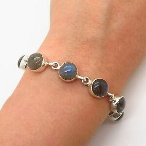 Vintage Sterling Silver Bezel Set Labradorite Bracelet with Rolo Links 7 Bracelet