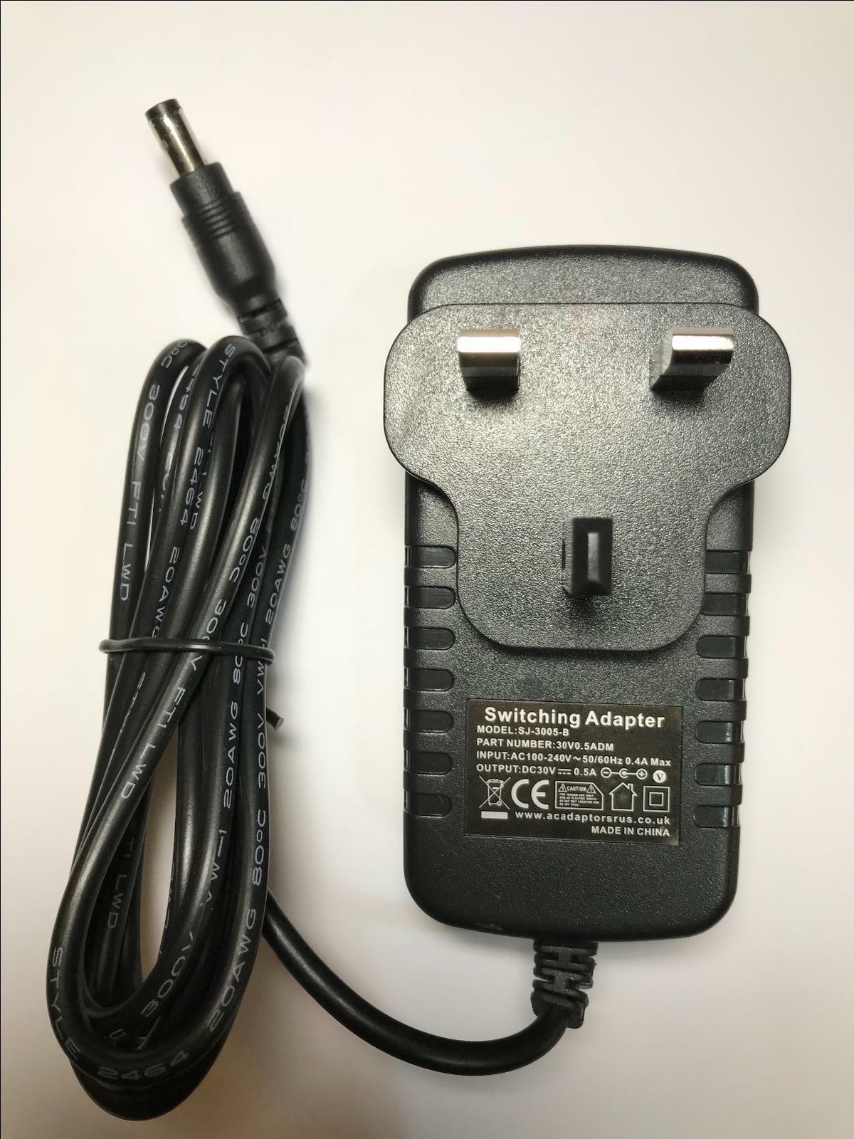 30V 0.5A 30.0V 500mA UK Mains AC-DC Switching Adaptor Power Supply 5.5mm x 2.1mm
