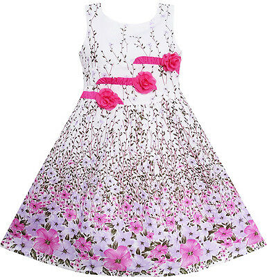 Sunny Fashion Girls Dress 3 Pink Flower Leaves School Party Size 6-14