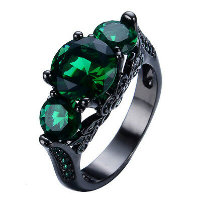 Size 6-10 Vintage Green Emerald Crystal Wedding Ring Black Gold Filled Jewelry