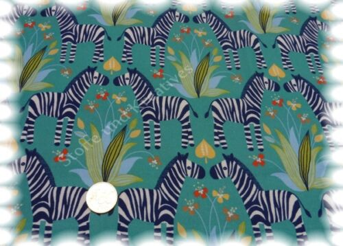 Happy Zebras petrol Baumwolle Popeline Webware Hilco 50 cm