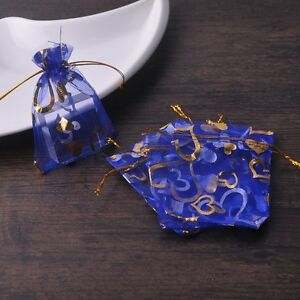 100pcs-9x12cm-Organza-Wedding-Party-Decoration-Gift-Candy-Bags-Pouches-Blue