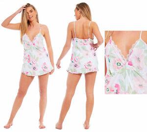 7b6637d7a La imagen se está cargando Saten-Corto-Pijama-Mujer-Verano -Camison-Camison-blanco-