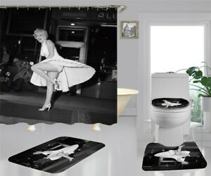 Goddes Marilyn Monroe Bathroom Set Shower Curtain Non-slip mat Toilet Mat 1P//3Pc