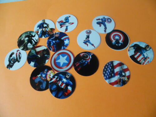 Pre Cut One Inch Bottle Cap Images CAPTAIN AMERICA Free Shipping