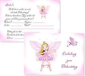 Das Bild Wird Geladen 8 Einladungskarten Kindergeburtstag Maedchen Kinder  Einladungen Geburtstag