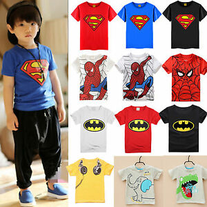 Toddler-Baby-Kids-Boys-T-Shirt-Tops-Spiderman-Batman-Cos-Outfits-Clothes-Child