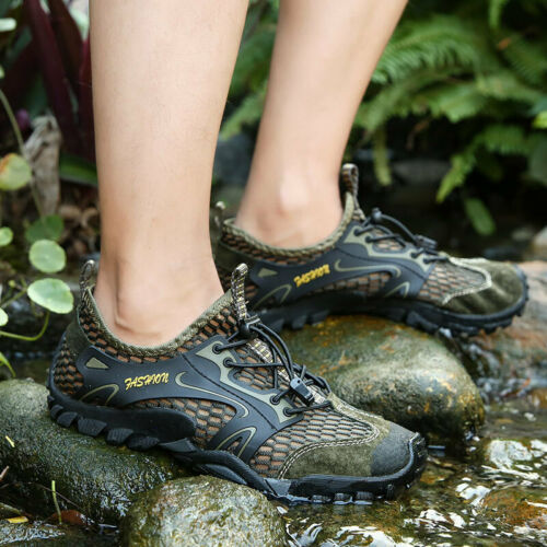 Mens Breathable Outdoor Climbing Water Shoes Hiking Non-slip Waterproof Falts