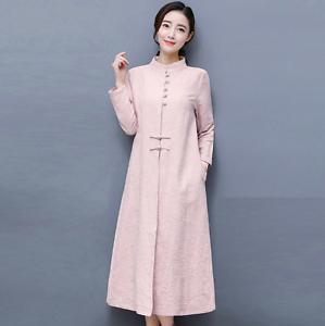 style coton Manteau lin chinois long et en de qEEv01Cw