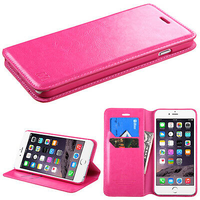 """Hot Pink Wallet Card Holder Cover Phone Case for Apple iPhone 6 Plus (5.5"""")"""