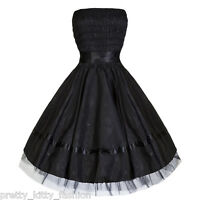 PRETTY KITTY PROM ROCKABILLY COCKTAIL BLACK FLORAL PARTY SATIN DRESS UK 10-20