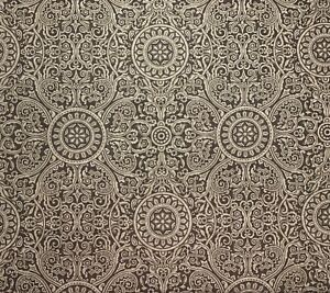Mocha-and-Tan-Floral-Damask-Scroll-Upholstery-Drapery-Fabric-By-The-Yard