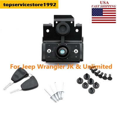 Black Hood Lock w//Keys Anti-Theft Kit Assembly For Jeep Wrangler JK 07-17 USA QC