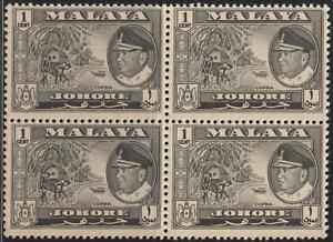 MALAYSIA-MALAYA-JOHORE-1960-1c-BLACK-B-4-MNH