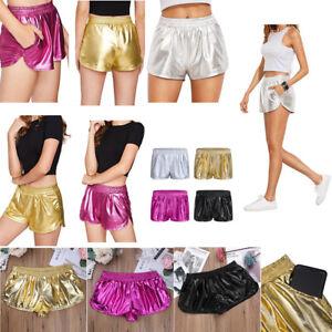 Womens-Metallic-Boxer-Shorts-Shiny-Club-Dance-Shorts-Gym-Yoga-Casual-Hot-Pants