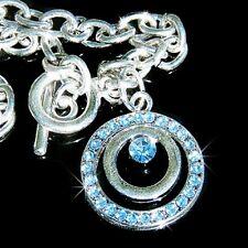 Blue CIRCLE OF LOVE w Swarovski Austrian Crystal Wedding Bridal Pendant Bracelet