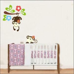 Monkey-Affe-Wandsticker-Wandtattoo-Kinder-haengende-Affen-Aufkleber-Kinderzimmer