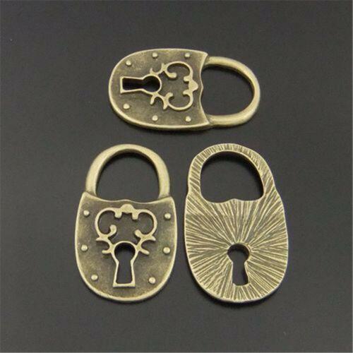 18pcs Vintage Bronze Alloy Retro Locks Pendant Charms Jewelry DIY Accessories