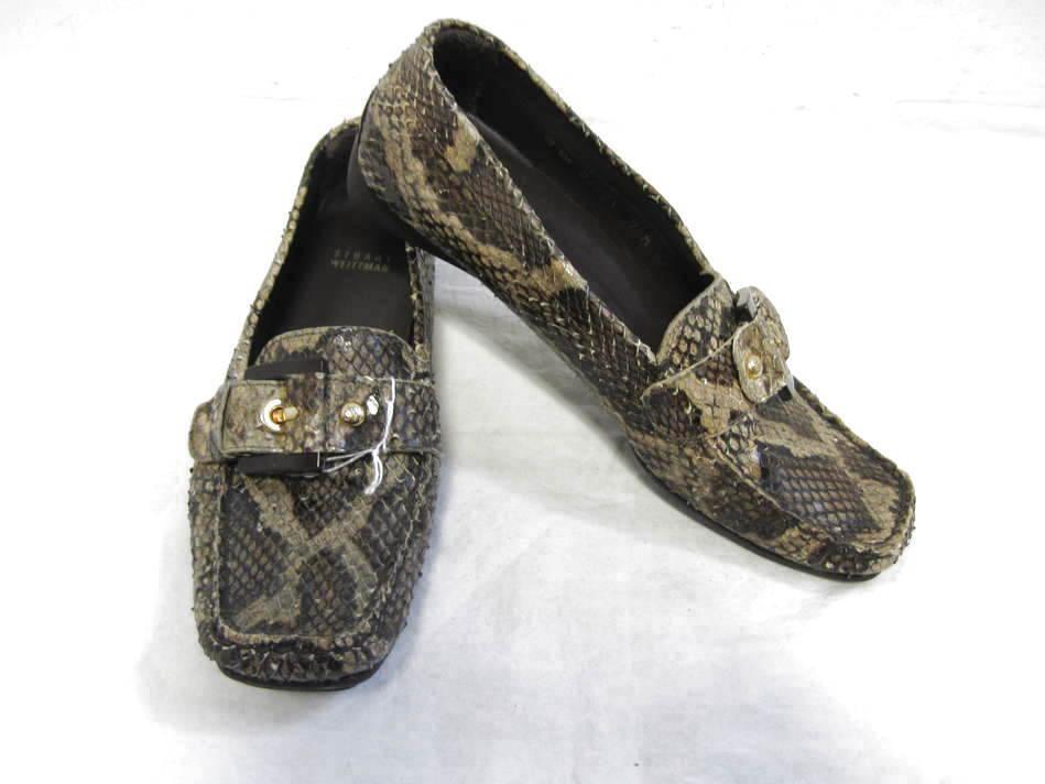 Stuart Weitzman marrón Pitón Piel De De De Serpiente Mocasines zapatos 7 M  Tu satisfacción es nuestro objetivo