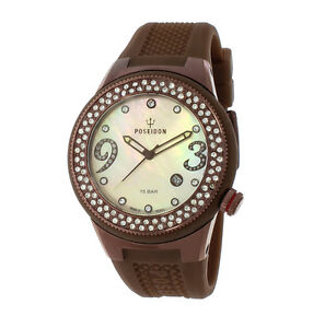 POSEIDON-Damen-Armbanduhr-Analog-Silikonband-UP00427-Braun-UVP-159