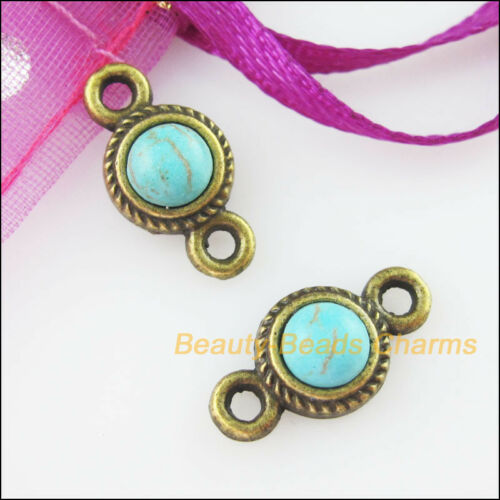 12 New Charms Round Connectors Turquoise Antiqued Bronze Pendants Retro 8.5x16mm
