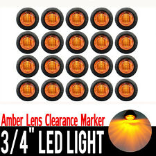 "20x 3/4"" Amber 3 LED Round Side Marker Indicator Lights 12V Truck Trailer Lorry"