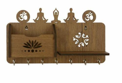 Yoga Home Decor Wood Key Holder Wall Mount Hooks Keys Storage Hanging Organizer