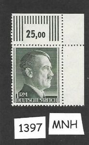 1397-MNH-1940s-Adolph-Hitler-postage-stamp-1RM-Third-Reich-WWII-Germany