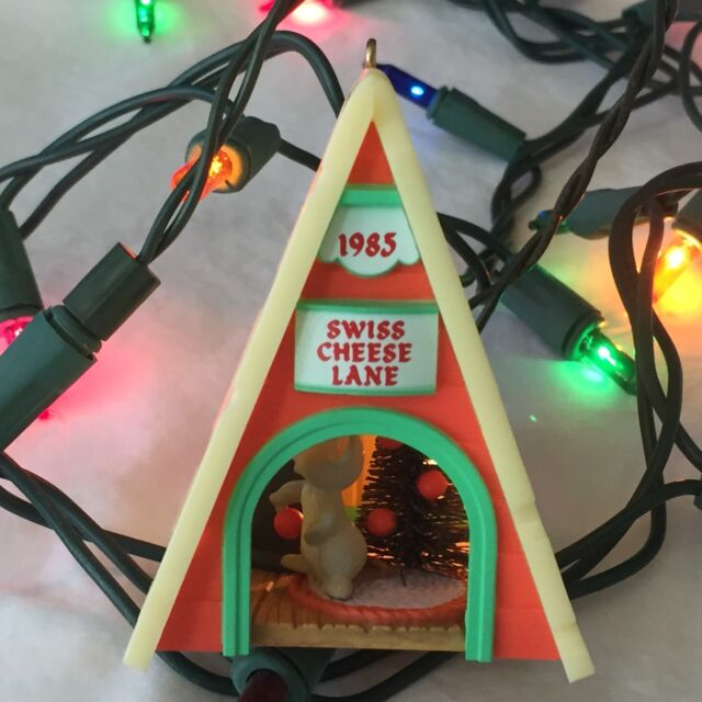 Hallmark Christmas Ornament Swiss Cheese Lane 1985 Mouse Light Up Holiday Magic