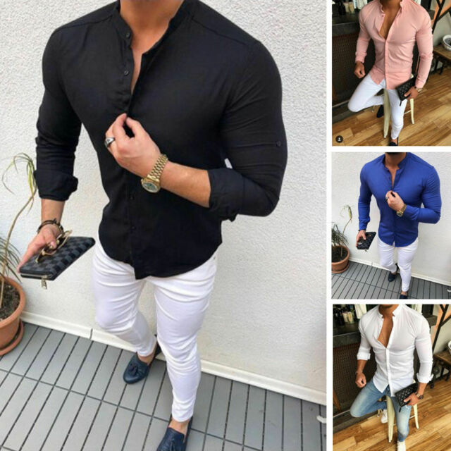 ღLILICATღ Camisa Algod/ón Y Lino Hombre Casual 2019 Nuevo Camisetas Hombre Manga Larga Color S/ólido Cuello en V Bot/ón Bolsillo Verano Blusa Tops Tallas Grandes