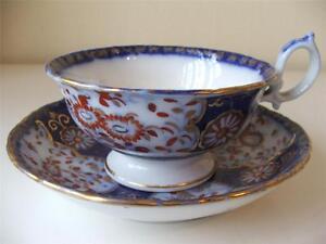 Antique-c1836-41-Minton-amp-Boyle-Felspar-Porcelain-Tea-Cup-amp-Saucer-Japan-Pattern
