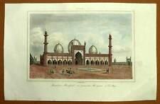 JAMI MASJID GRANDE MOSCHEA DELHI incisione stampa originale acquerellato 1841