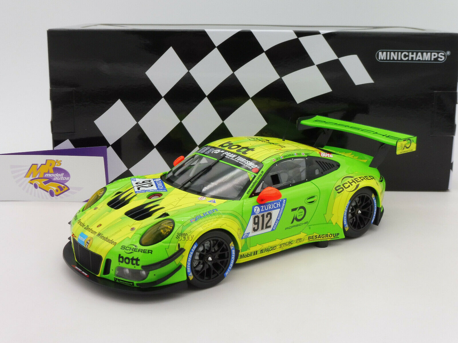 Minichamps 155186912   PORSCHE 911 GT3 R Manthey Racing No .912 24 h. 2018 1 18