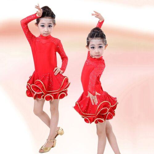 New Child Girls Dance Costumes Latin Salsa Waltz Dancewear Ballroom Dance Dress