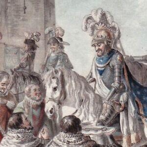 Gravure-XVIIIe-Henri-IV-Henri-De-Bourbon-1594-Remise-Cles-Paris-Lhuillier-1792
