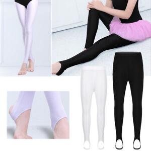 Girls Children Kids Stirrup Tights Dance Gymnastics Shiny Pantyhose Stockings