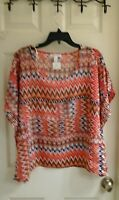 Ambiance Apparel Junior Girls Size Small Chiffon Thin Blouse Square Style Orange