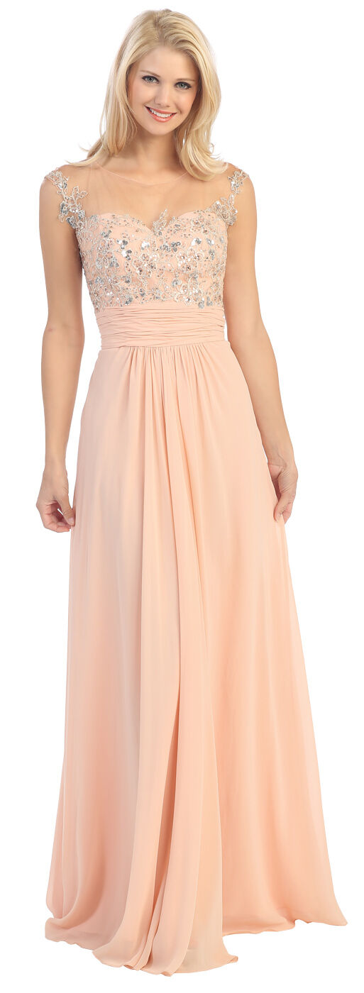 2PromDress Peach bluesh Cap Sleeve Embroidery Embroidery Embroidery Bodice Evening Long Dress Size L dbe9e3