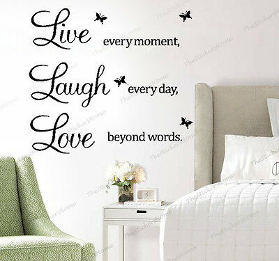 Wall Quote Stickers LIVE LAUGH LOVE Home Decor Art Decals Mural Paper Vinyl UK