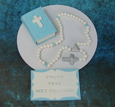 Holy communion Edible Fondant Cupcake //Cake Toppers Rosary Beads