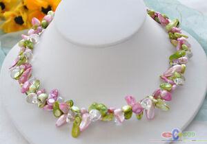 """P3438 2row 17/"""" 22 mm Baroque Lavender Biwa DENS collier de perles"""