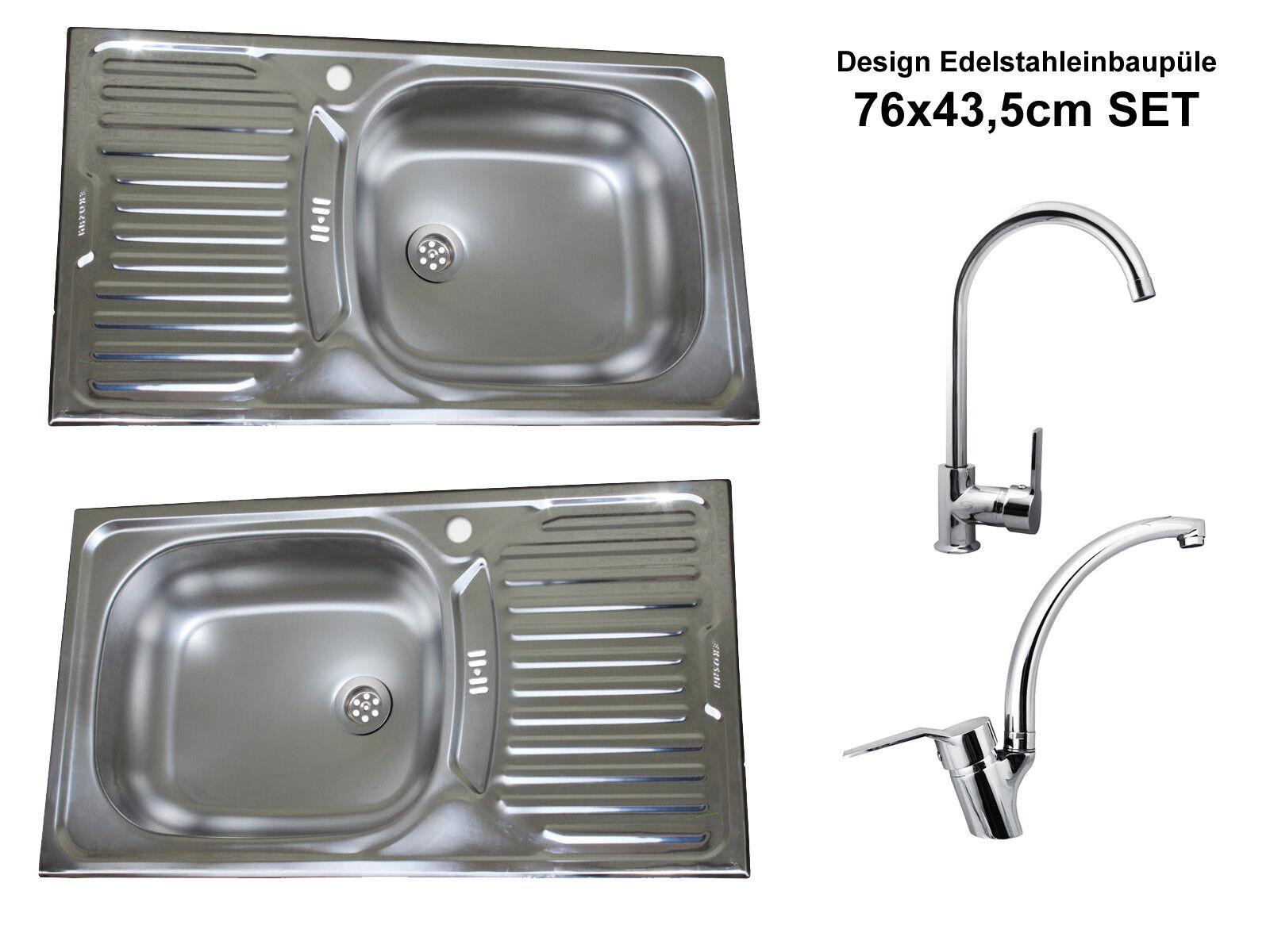 Design Edelstahl Einbauspüle Küchenspüle Küchen Spüle Armatur Set 76cm x 43,5cm