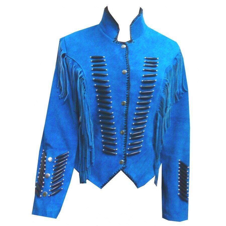 women Dama de Vaca blue Cuero de Gamuza Chaqueta Flecos Occidental Vestir Abrigo