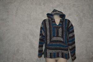 1cb14e7db Baja Joe Blue White Black Mexican Woven Hoodie Hooded blanket jacket ...