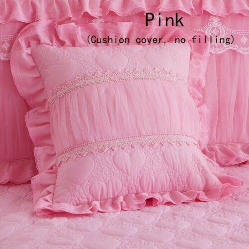 2PCS Cushion Covers Princess Lace Ruffle Square Zip Pillowcases Home Decor 45cm