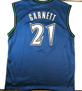 detailed look da42d ad68c Details about Kevin Garnett Minnesota Timberwolves Large Reebok Blue Jersey