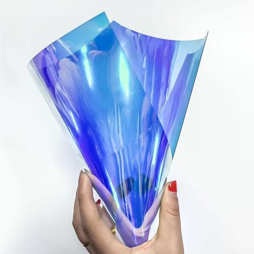 7Pcs Iridescent Clear Transparent PVC Fabric Vinyl Materia Bow Craft Bag 20X30cm