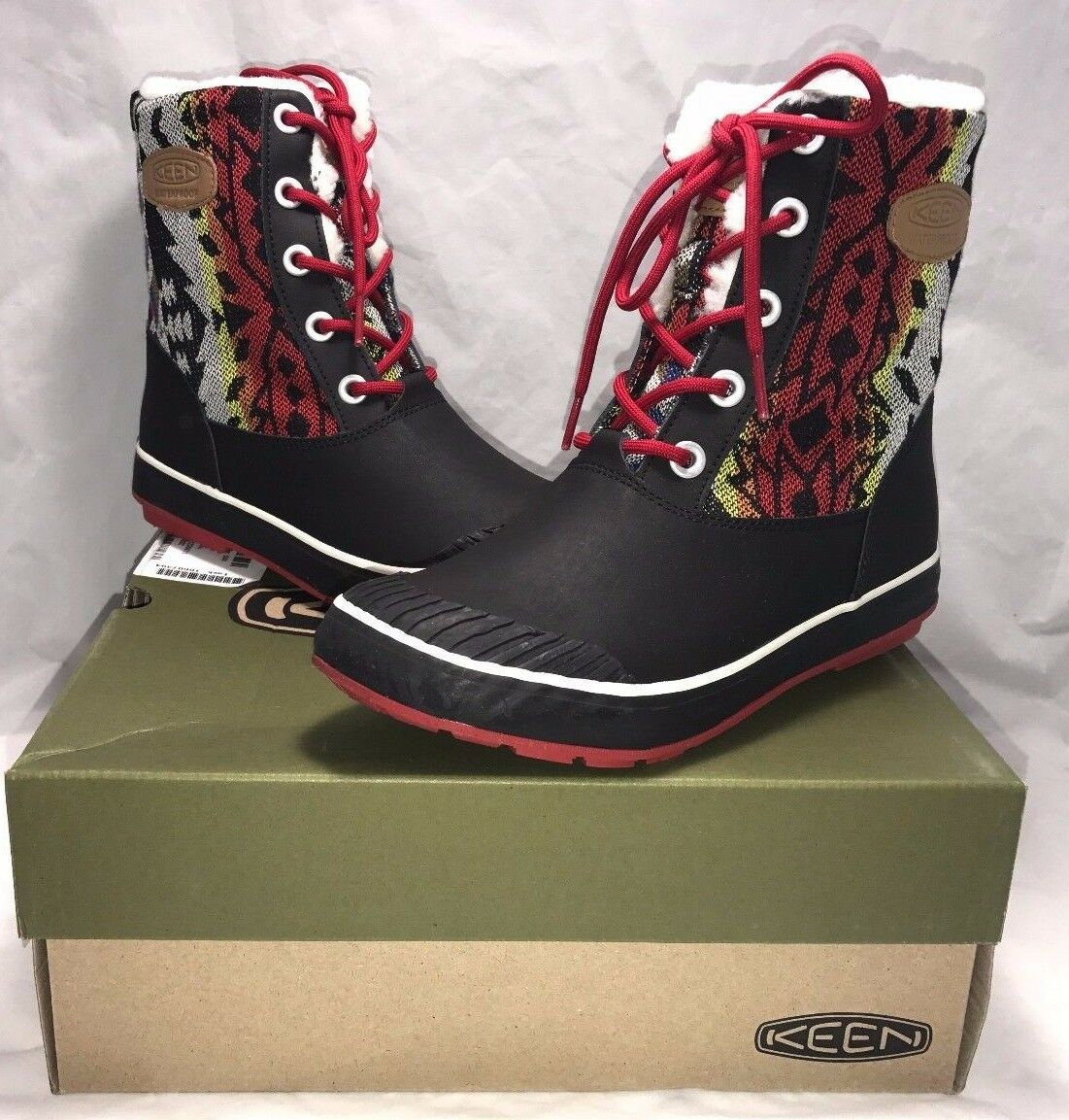 Keen Womens Size 5 Elsa Boot Chili Pepper Waterproof Lace Up Winter Boots New