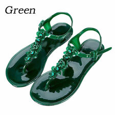 1947d64ca736a Women Flower Beach Flat Sandal Thong Crystal Jelly Shoes Slippers Non-slip  Tops