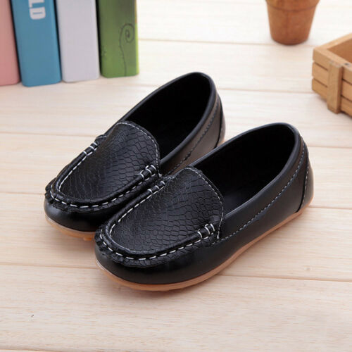 Child Boys Girls Toddler PU Leather Flat Loafers Boat Shoes Non-slip Flat